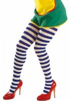 Blue/White Striped Tights - Plus Size